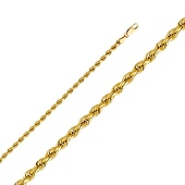 3mm Diamond-Cut 14K Yellow Gold Rope Chain
