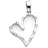 14K White Gold 0.13ctw Diamond Floating Heart Pendant
