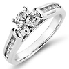 14K White Gold Channel Set Diamond Engagement Ring 0.75 ctw