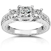 Elegant 14K White Gold 3 Stone Princess Cut Diamond Engagement Ring