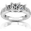 14K Three-Stone Asscher Cut Engagement Ring (1.60 ctw)