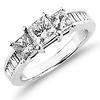 Modern 14K White Gold 3 Stone Princess Cut Diamond Engagement Ring