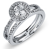 Split Shank Halo Round Cut Diamond Engagement Ring in 14K White Gold 0.75 ctw