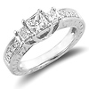 Princess Cut 14K White Gold 3 Stone Engagement Ring 0.80 ctw