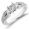Split Shank 14K White Gold Diamond Engagement Ring 0.80 ctw