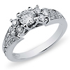 14K White Gold Pav� Diamond Engagement Ring 0.85 ctw