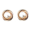 14K Gold Pearl Love Knot Earrings