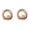 14K Gold Pearl Love Knot Earrings