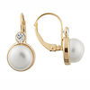 14K Gold White Pearl CZ Huggie Earrings