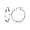Flat Medium Sterling Silver Hoop Earrings 34mm