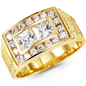 13mm Double Princess-Cut Center CZ Men's Ring in 14K Yellow Gold