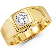 14K Yellow Gold Solitaire Bezel Set Round CZ Men's Ring