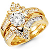 Round Center 14K Yellow Gold CZ Wedding Ring Set
