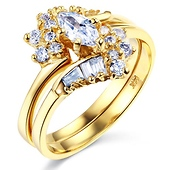 14K Yellow Gold Marquise CZ Engagement Ring