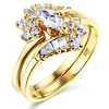 Marquise Center 14k Yellow Gold CZ Wedding Ring Set
