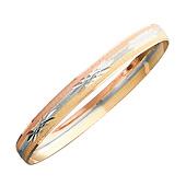 Tri Color Solid 14K Gold Bangle Bracelet