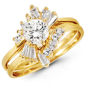 14K Yellow Gold Round CZ Engagement Ring