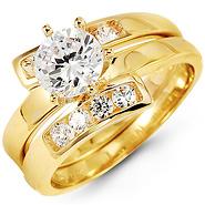 14k Yellow Gold Three Row Round CZ Wedding Ring
