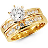 Round 14k Yellow Gold CZ Engagement Ring Set