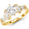 Center Round 14K Yellow Gold CZ Engagement Ring
