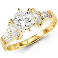 14K Yellow Gold Round CZ Center Engagement Ring
