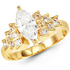 Radiant Marquise 14K Yellow Gold CZ Engagement Ring