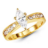 Marquise 14K Yellow Gold CZ Engagement Ring