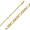 2mm White Gold Pave Figaro Link Bracelet in 14K Yellow Gold