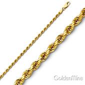 2mm 14K Yellow Gold Diamond Cut Rope Bracelet