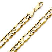 8mm 14K Yellow Gold Figaro Bracelet