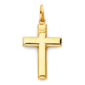 Thick Yellow Gold Cross Pendant
