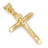 Classic Solid 14K Yellow Gold Crucifix Pendant