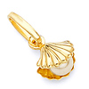 Golden Shell With Pearl 14K Yellow Gold Pendant Charm