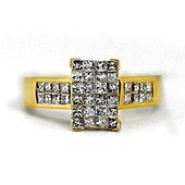 14K Yellow Gold Invisible-Set Rectangle Princess-Cut Diamond Ring