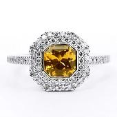 14K White Gold Diamond Halo Square Emerald-Cut Yellow Sapphire Ring