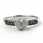 Green Garnet and Diamond-Encrusted Heart Ring in 14K White Gold