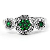 14K White Gold Tri-Circle Round Diamond Halo & Cluster Emerald Ring