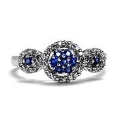 14K White Gold Tri-Circle Round Diamond Halo & Cluster Sapphire Ring