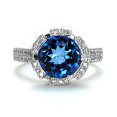 Diamond Halo 5ct Round Blue Topaz Ring in 14K White Gold