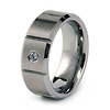 Solitaire Diamond Tungsten Wedding Band