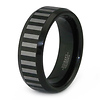 Black Tungsten Laser Engraved Striped Wedding Ring