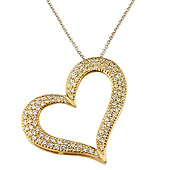 14K Yellow or White Gold Diamond Heart Charm Necklace