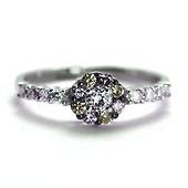 Flower Round White & Yellow Diamond Promise Ring 0.55ctw - 14K White Gold