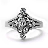Art Deco Vintage-Style Lozenge Round Diamond Ring - 14K White Gold