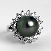 Tahitian Black Pearl Cocktail Ring with Diamonds - 14K White Gold