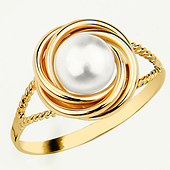 yellow gold pearl love knot ring