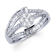 18KW Illusion, Baguette Set, Pave Round Diamond Fancy Ring