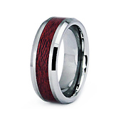 8mm Wood Inlay Tungsten Wedding Band