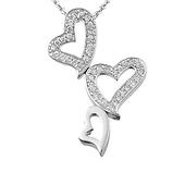 Silver CZ Diamond Heart Charm Necklace