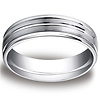 6mm Designer Ridged 14K White Gold Men's Benchmark Ring